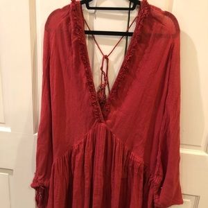 Free People red tunic dress size S